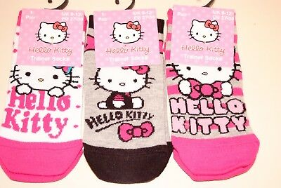 Girls Ladies 3 Pack Hello Kitty Socks 4 Sizes New B