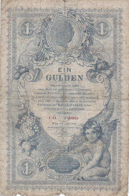 1 Gulden Vg Banknote From Austrian-Hungarian Empire 1888