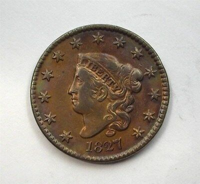 1827 Coronet Head Large Cent  Extra Fine+