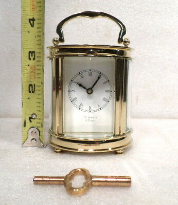 24K Gold Plated Oval Carriage Clock With Matching Key