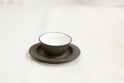 Odd Shaped Chinese Yixing White Inside Pottery Tea Cup Signed #3