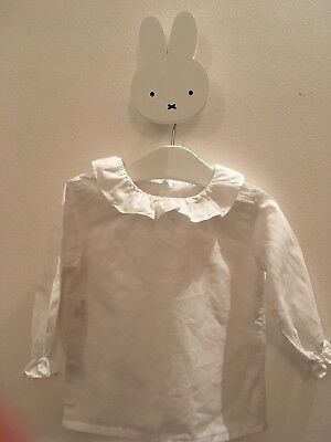 White Baby Shirt 100 % Cotton Size 9 Months