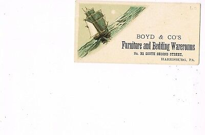 VICTORIAN ADVERTISING / TRADE Card    BOYD & CO.'S, FURNITURE  -  HARRISBURG, PA