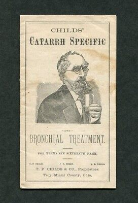 c1877 Antique Medical Booklet Child's Catarrh Specific and Bronchial Treatment