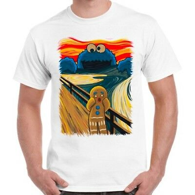 Gingerbread Man Cookie Monster The Scream Cool Funny Gift Retro T Shirt 287