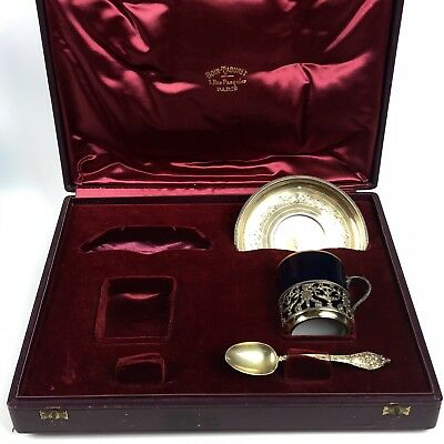 Boin Taburet French Sterling Silver Tea Cup Saucer & Spoon