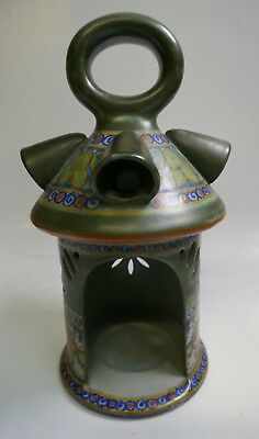 Early 20th Century Gouda Art Pottery Multi Colored Hand Held Lantern