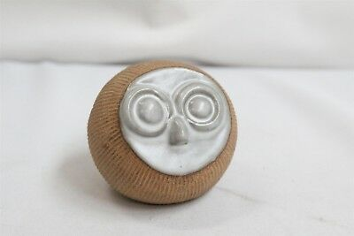 MCM RARE Robert Maxwell Grey Face Carved Line Pottery Owl Paperweight