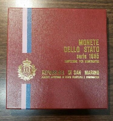 1985 San Marino 9 Piece Coin Set With Stamps In Original Box