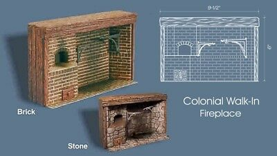 Braxton Payne Walk-in colonial fireplace bricks Camino coloniale mattoni 1:12