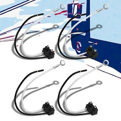 "4xWiring Harness Right Angle Single Contact 6"" 2 Prong Reverse Light Pigtail"