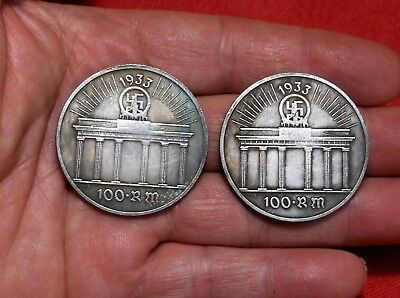 Lot Of 2 - 1933 German Reichstag 100 Reichsmark Wwii Collectible Coin S