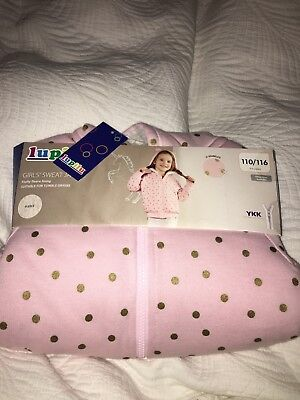 Lovely Lidl girls pink with gold spots furry lined hooded jacket size 4-6 years