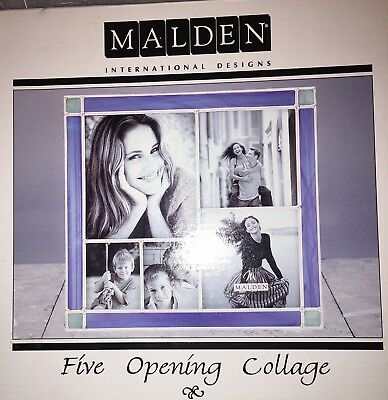 Malden Stained Glass Frames 5 Opening Collage Light Blue & White