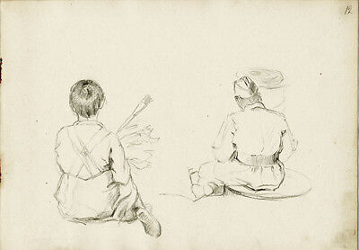 BOY WITH PAINTBRUSH and SITTING SOLDIER drawing by Russian artist S.Pichugin