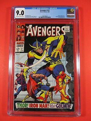The Avengers Vol 1 #51 CGC 9.0 VF/NM Off White to White Pages 1968 Marvel Comic