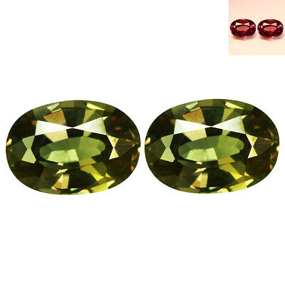 1.08Ct IF (2Pcs Pair) Oval Cut 5 x 4 Green To Purplish Red Color Change Garnet