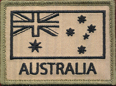 Australian National Flag (Black/Tan) Militaria Patch Sleeve / Shoulder