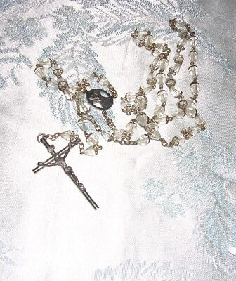 """#a Vintage Capped Clear Glass Crystal Bead Catholic Long Ornate Rosary  24"""""""