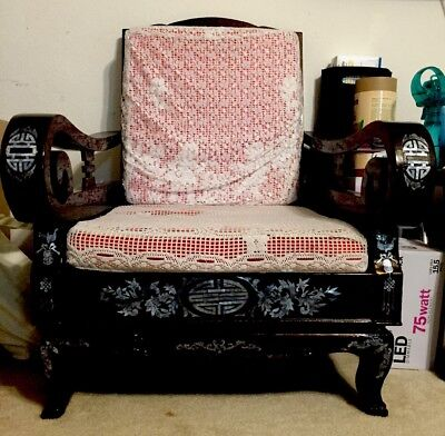 Brown/Red Antique Chinese Throne.