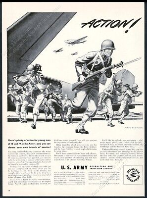 1942 US Army Airborne recruitment soldiers plane art vintage print ad