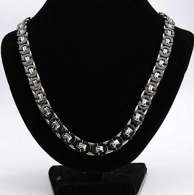 24'' Stainless Steel Men's Boys Flat Byzantine Link-chain Necklace Silver Black