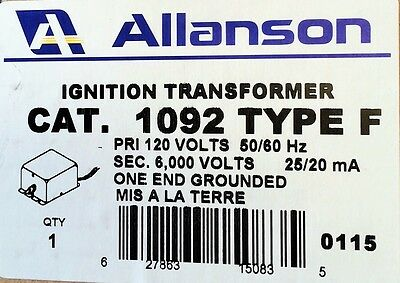 Allanson 1092 F Transformer Gas Burners 612-6A7 Webster
