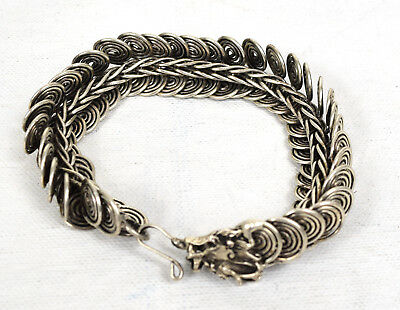 Vintage Silver Tone Chinese Serpent Dragon Scale Bracelet Bangle Movable Joint