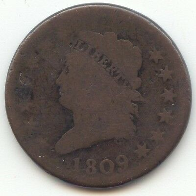 1809 Classic Head Large Cent, Smooth Brown AG