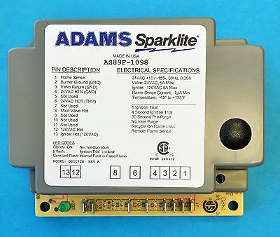 Honeywell S89F1098 Replacement AS89F by ADAMS Direct Spark Gas Burner Control