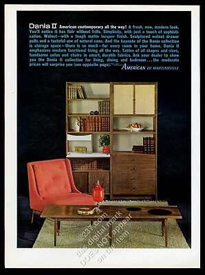 1963 American Of Martinsville Dania II Modern Table Chair Etc Photo Print Ad