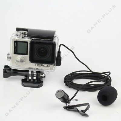 New External Microphone Mic + Clear Skeleton Housing Case for GoPro Hero 4 3+ 3