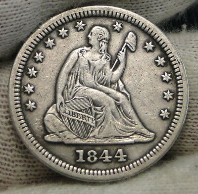 1844 O Seated Liberty Quarter, Nice Coin, Key Date 740,000 Minted (7507)