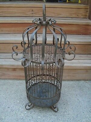 "Very Large 30"" Tall Vintage Ornate Iron Metal Rustic Bird Cage Garden Wedding"