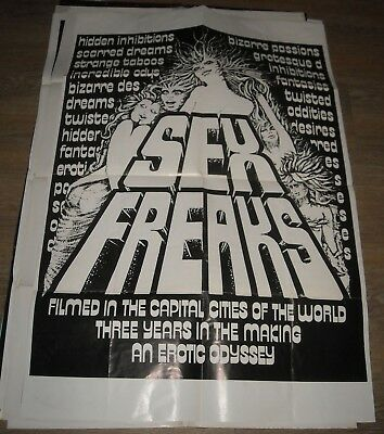 1974 Sex Freaks 1 Sheet Movie Poster Bizarre Documentary Cult Film Cool Art