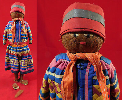 Vintage Antique Seminole Native American Indian Palmetto Fiber Folk Art Doll 16""