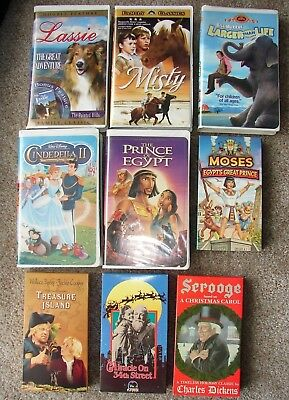 9 Children's Family VHS Lassie Misty Cinderella II Prince of Egypt Scrooge Moses