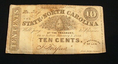1862 Raleigh State Of North Carolina 10 Cent Note Currency #1