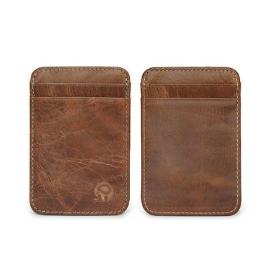 Genuine Leather Mens Brown Small Id Credit Card Wallet Holder Slim Pocket Case