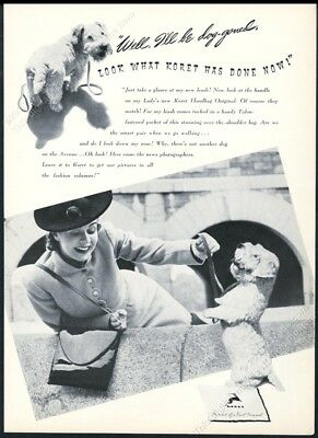 1939 Sealyham Terrier photo CUTE Koret handbag purse vintage print ad