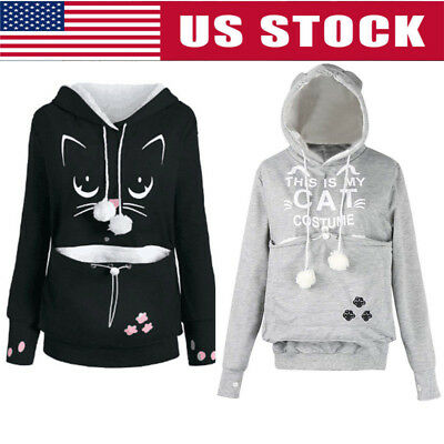 Unisex Kangaroo Cat Pouch Dog Pet Pocket Hoodie Jumper Pullover Blouse Coat Tops