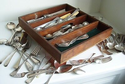 MASSIVE JOB LOT VINTAGE CUTLERY SILVER PLATED ETC IN WOODEN DRAW 5kg