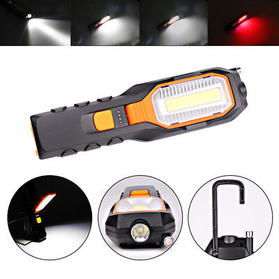 USB Rechargeable COB LED Work Light Lamp Magnetic Flashlight Torch W/Hook New