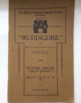 * Melton Mowbray Operatic Society 1928 PICTURE HOUSE Programme Malcolm Sargent *