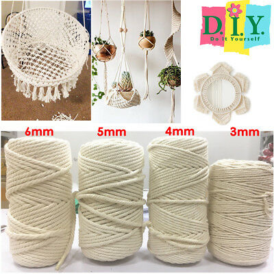 DIY 3/4/5/6mm Macrame Rope Natural Beige Cotton Twisted Cord Artisan Hand Craft