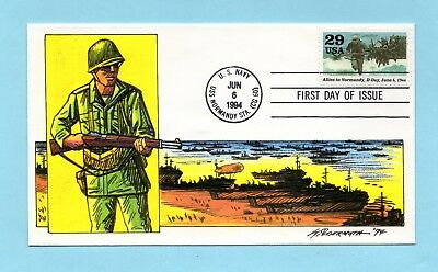 U.s. Fdc #2838 Allies In Normandy D-Day From Wwii Series