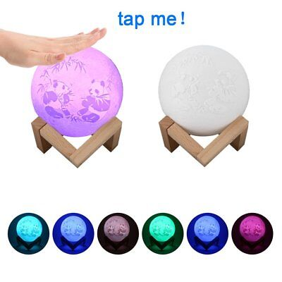 USB Rechargeable 3D Printing Moon Lunar LED Night Light Stand Lamp Touch Senso@P