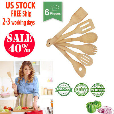 6 Piece Wooden Cooking Utensil Set Bamboo Kitchen Tools Spatulas Nonstick Pan Co