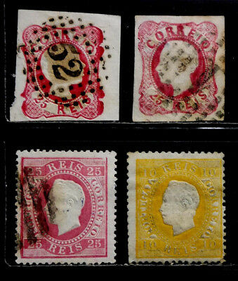 Portugal: 1858-71 Classic Stamp Collection Scott #11, 14, 35, 41 Sound Cv $42.50