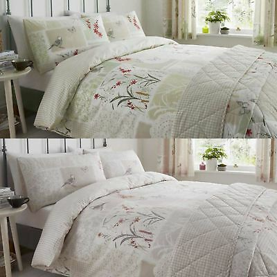 Floral Duvet Covers Dionne Patchwork Flowers Printed Easy Care Quilt Bedding